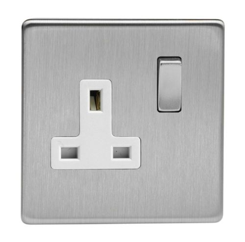 Varilight XDS4WS Screwless Brushed Steel 1 Gang 13A DP Single Switched Plug Socket